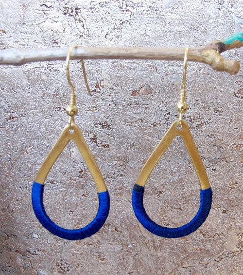 Cobalt Blue Threaded Teardrop Earrings - World Finds - high5humans