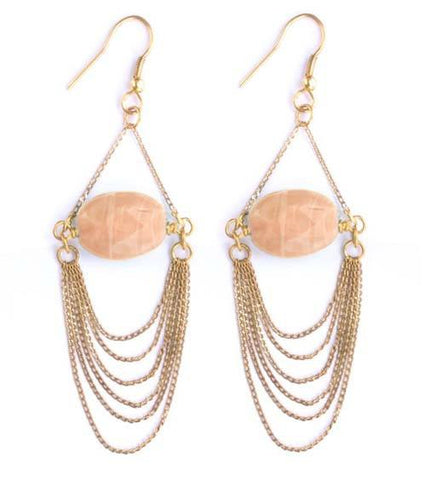 Coral Delicate Chain Earrings