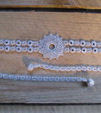 Crystal Silver Crochet Choker Necklace - Silk and Wool Crochet - high5humans
