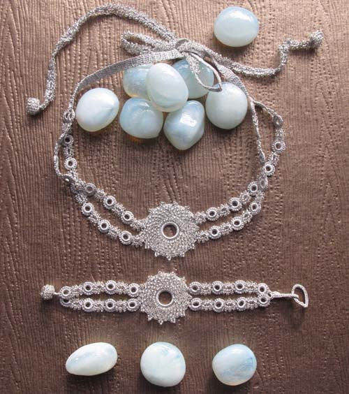 Crystal Silver Crochet Necklace & Bracelet Set Ethical Handmade Jewelry