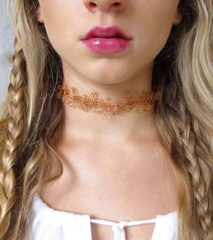 Floral Woven Copper Choker Necklace