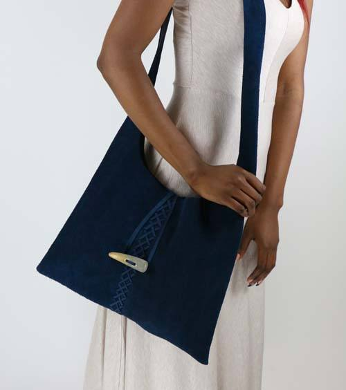 Demin Blue Criss-Cross Suede Handbag - Lotusland - high5humans