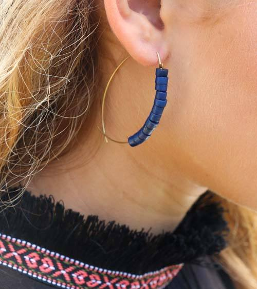 Denim Fish Bone Earrings - World Finds - high5humans