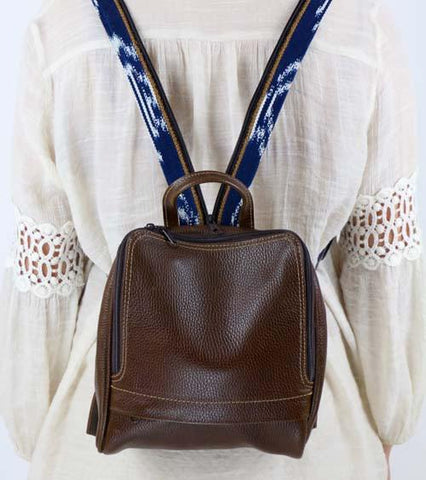 Double Zip Ikat Leather Backpack