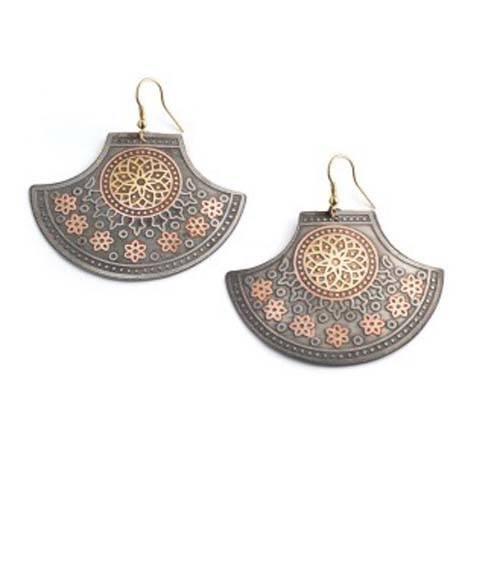 Embossed India Motif Earrings - Marta Boomie - high5humans