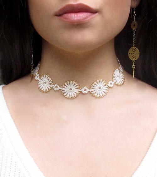 Golden Cream Goddess Crochet Choker Necklace - Silk and Wool Crochet - high5humans