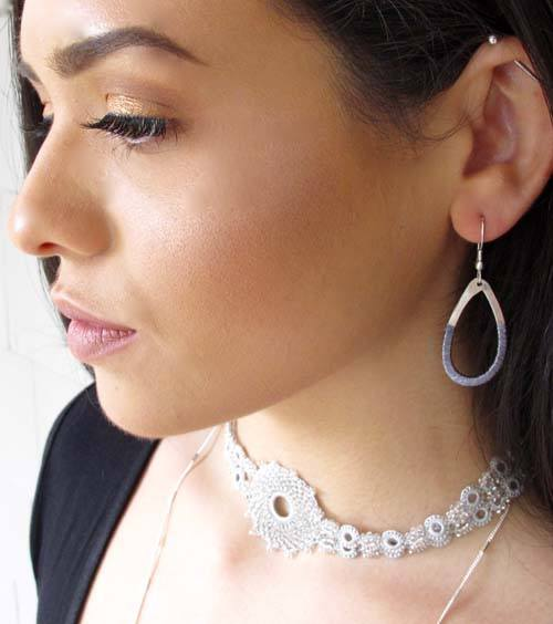 Metalic Silver Threaded Teardrop Earrings - World Finds - high5humans
