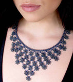 Midnight Blue Petals Cascade Crochet Necklace - Silk and Wool Crochet - high5humans