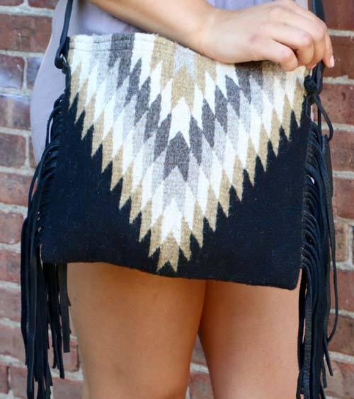Midnight Diamond Fringe Crossbody Bag - Manos Zapotecas - high5humans