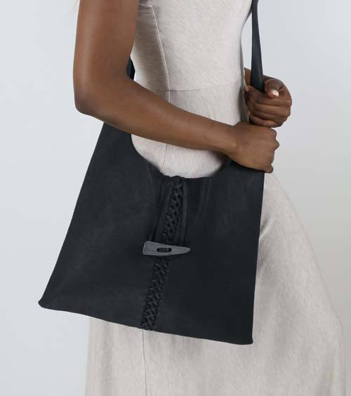 Midnight Grey Criss-Cross Leather Handbag - Lotusland - high5humans