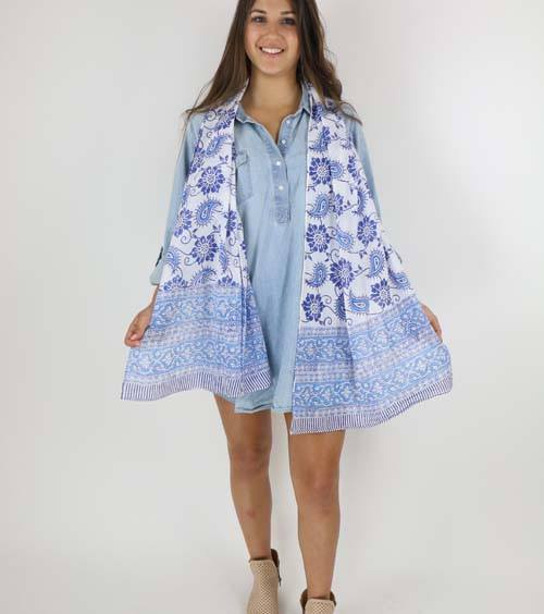 Moroccan Blue Scarf - Passion Lilie - high5humans