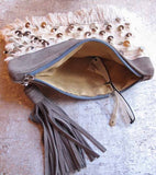 Moroccan Suede Tassel Clutch Purse Bag