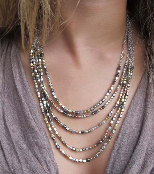 Ombre Metallic Tiered Necklace - World Finds - high5humans