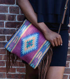 Plum Diamond Fringe Crossbody Bag - Manos Zapotecas - high5humans
