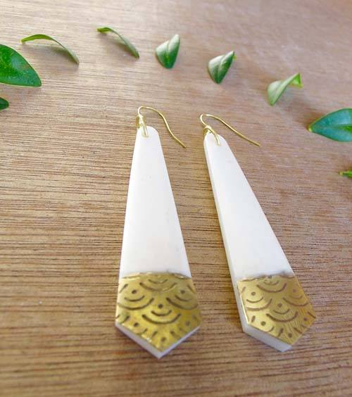 Tapered Carved Brass Earrings - Marta Boomie - high5humans