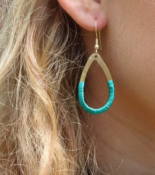 Teal Gold Threaded Teardrop Earrings - World Finds - high5humans