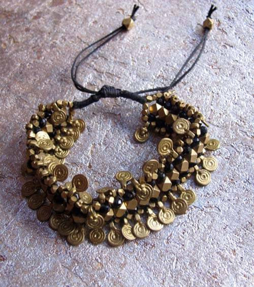 Brass Beaded Accent Bracelet