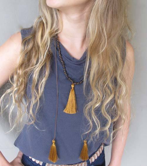 "Triple Copper Tassel ""Seeds of Joy"" Adjustable Necklace - Lula Mena - high5humans"