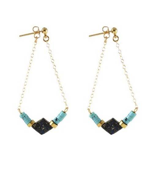 Turquoise Beaded Diamond Drop Earrings - Kris Nations - high5humans