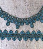 Turquoise Chic Crochet Necklace - Silk and Wool Crochet - high5humans
