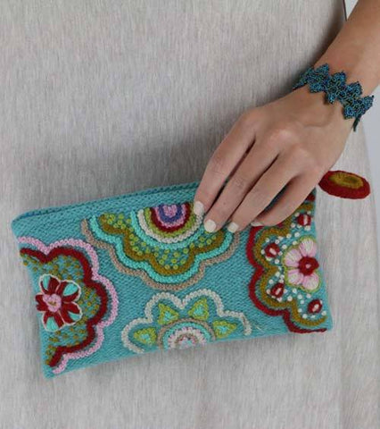 Turquoise Sausalito Clutch Purse | Ethical Handbags Handmade