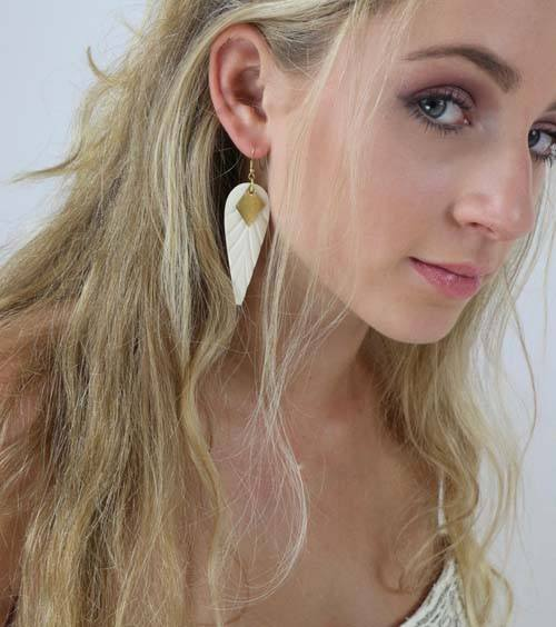Wing Carved Brass Earrings