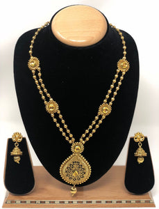 TC-G Indian Bridal Fashion Jewelry Necklace Jhumka Earrings Set