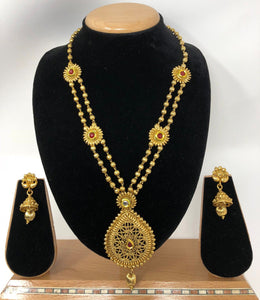 TC-F Indian Bridal Fashion Jewelry Necklace Jhumka Earrings Set