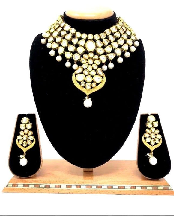 Traditional Bollywood Indian Bridal Kundan Jewelry Necklace Jhumka Earrings Set