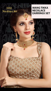 Indian Jewelry Sets 3352 Necklace Earrings and Mang Tikka