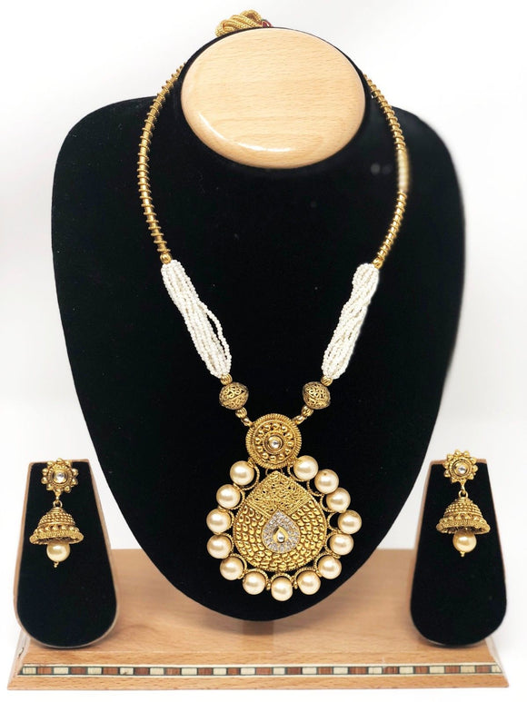 AB-5 Indian Bridal Fashion Jewelry Necklace Jhumka Earrings Set