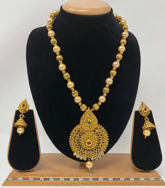 TC1-A Indian Bridal Fashion Jewelry Necklace Jhumka Earrings Set