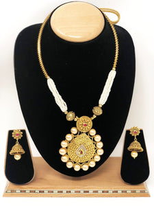 AB-4 Indian Bridal Fashion Jewelry Necklace Jhumka Earrings Set