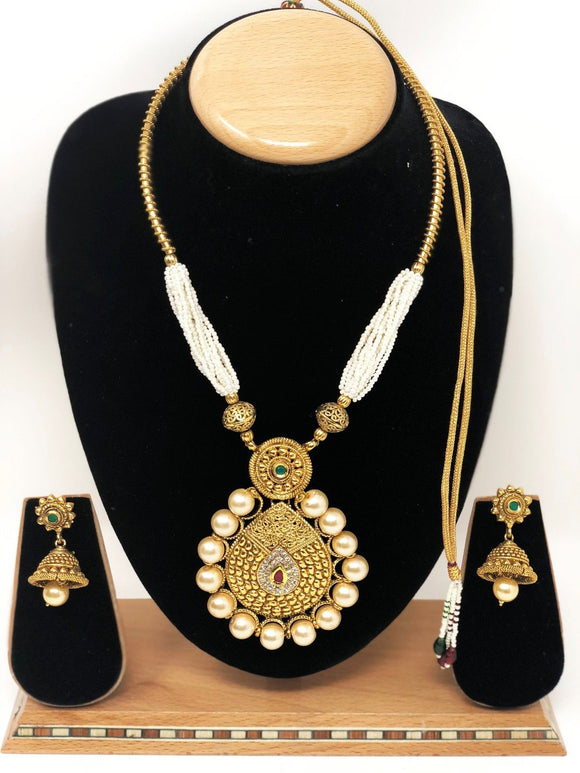 AB-45 Indian Bridal Fashion Jewelry Necklace Jhumka Earrings Set