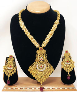 AB-2 Indian Bridal Fashion Jewelry Necklace Jhumka Earrings Set