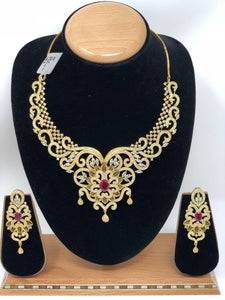 ADS4 Indian Bridal Fashion Jewelry Necklace Jhumka Earrings Set