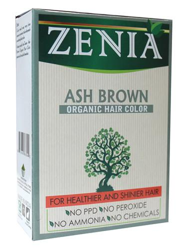 Zenia Organic Henna Hair Color Ash Brown 100g - Zenia Herbal