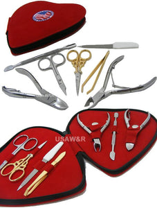 Heart Shape Manicure Beauty Set Nail Nipper Pusher Tweezer