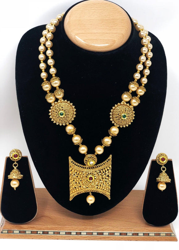PZ-35 Indian Bridal Fashion Jewelry Necklace Jhumka Earrings Set