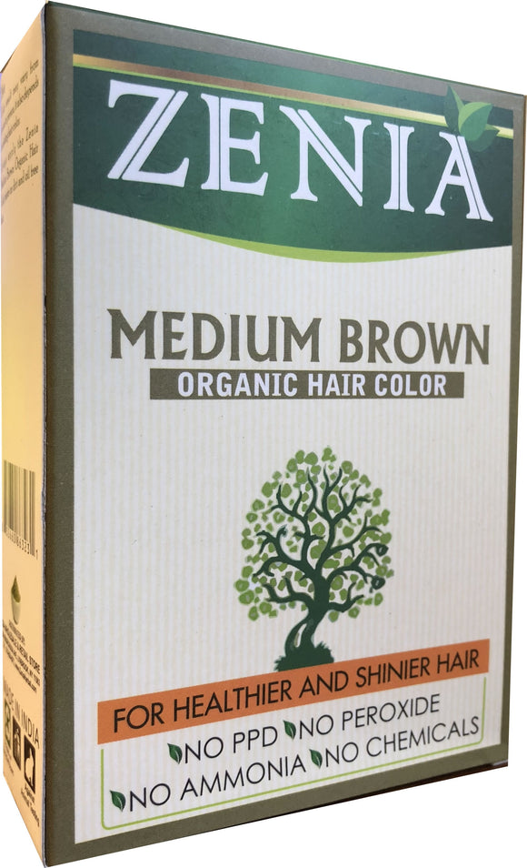 Zenia Organic Henna Hair Color Medium Brown 100g