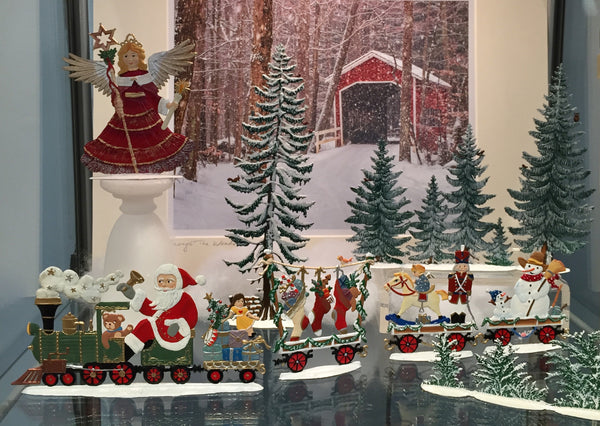 Wilhelm Schweizer Pewter Christmas Train Car with Soldier & Rocking Horse