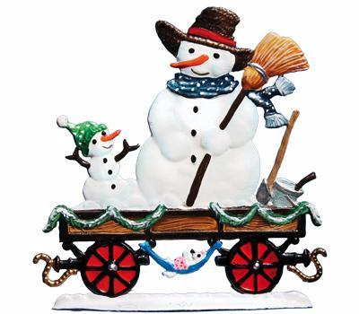 Christmas Express Train Car with Snowman