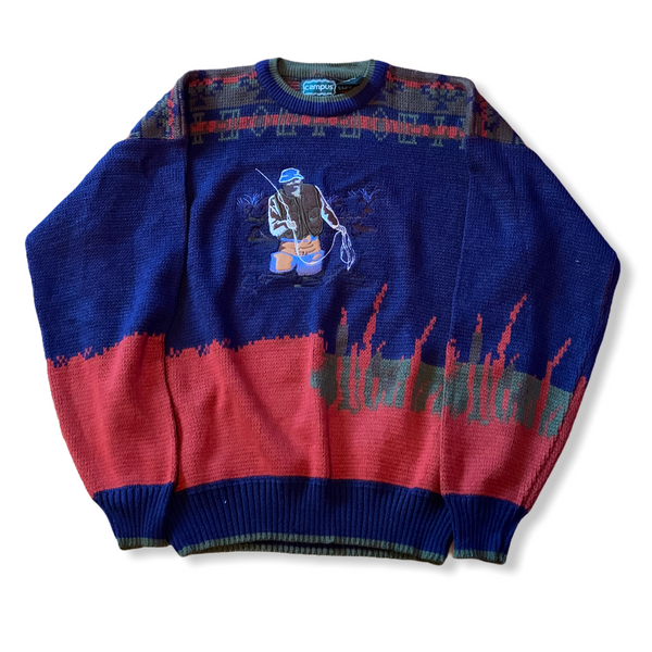 Vintage Fishing Embroidered Knit Sweater Large