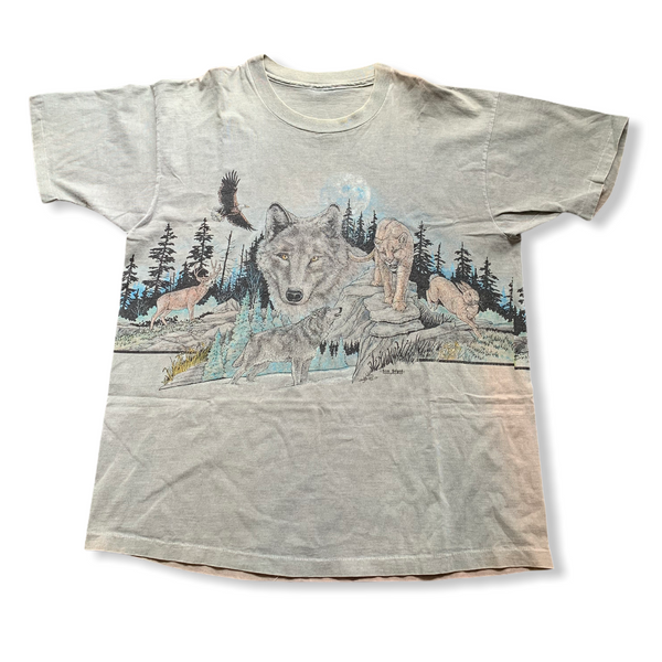 Vintage Wolf Nature Double Sided Tee Shirt XL