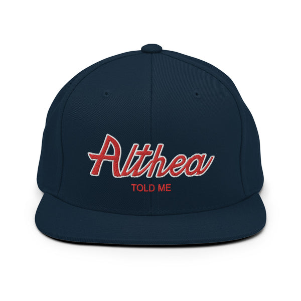 Althea Retro Script Snapback Hat