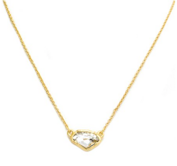 "New Product - Matte Gold Necklace with Clear Crystal Pendant 16"" + 2"" Extender"