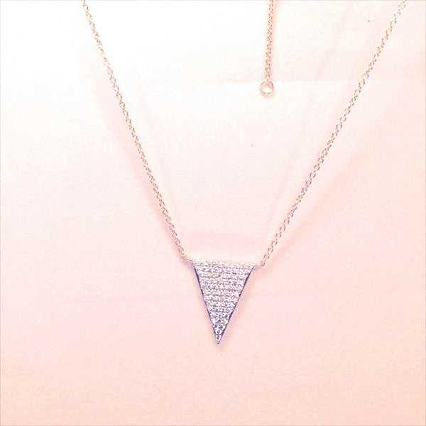"New Product - Antique Gold Chain with Triangle Crystal Zircon Pave Pend 16""+2"