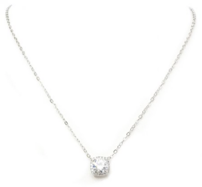 "New Product - 16"" Silver Tone and Square Cubic Zirconia Pendant - Quantum EMF Protectors"