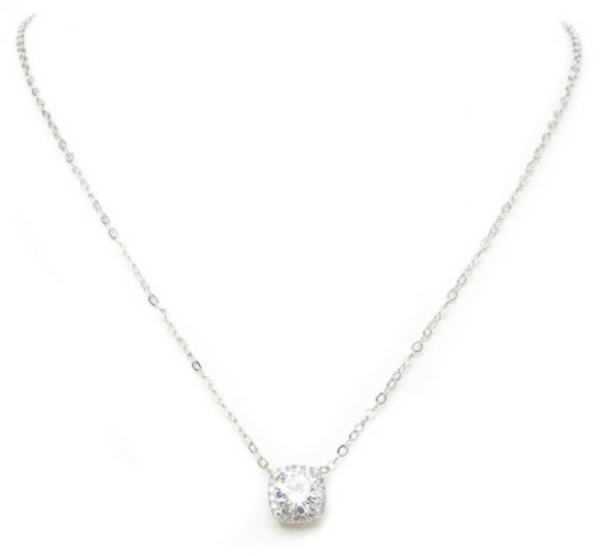 "New Product - 16"" Silver Tone and Square Cubic Zirconia Pendant"