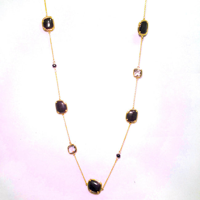 "New Product - 87  Gold Chain Onyx with Semi Precious Stone Stations Approx: 36"" - Quantum EMF Protectors"